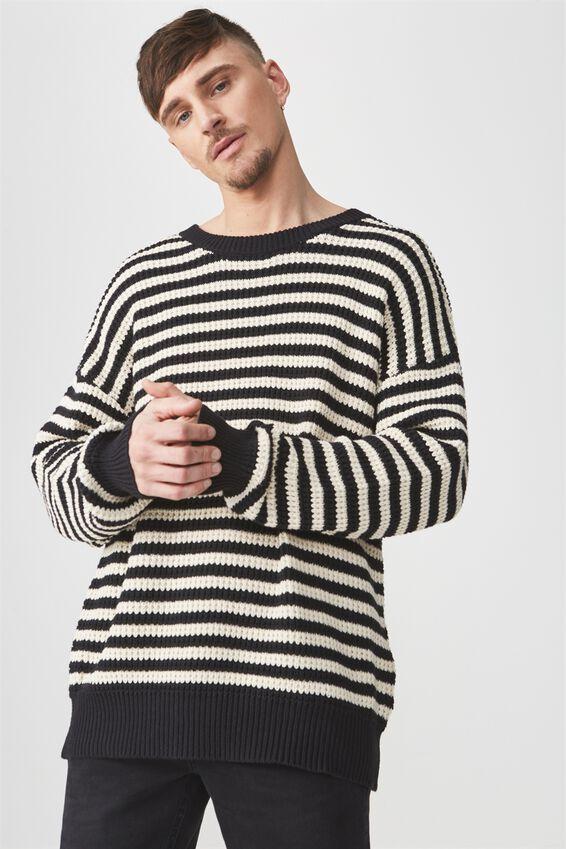 Oversized Crew Knit, BLACK WHITE STRIPE