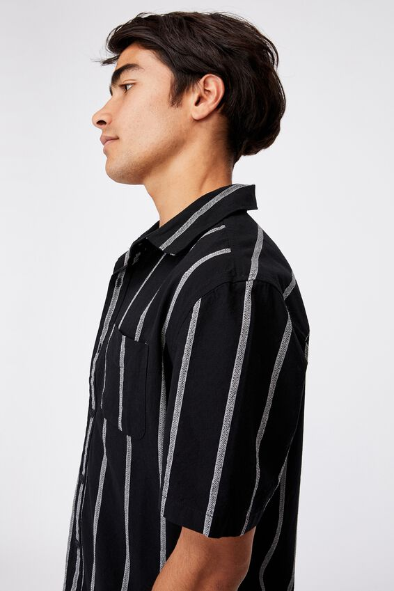 Vintage Prep Short Sleeve Shirt, BLACK STRIPE