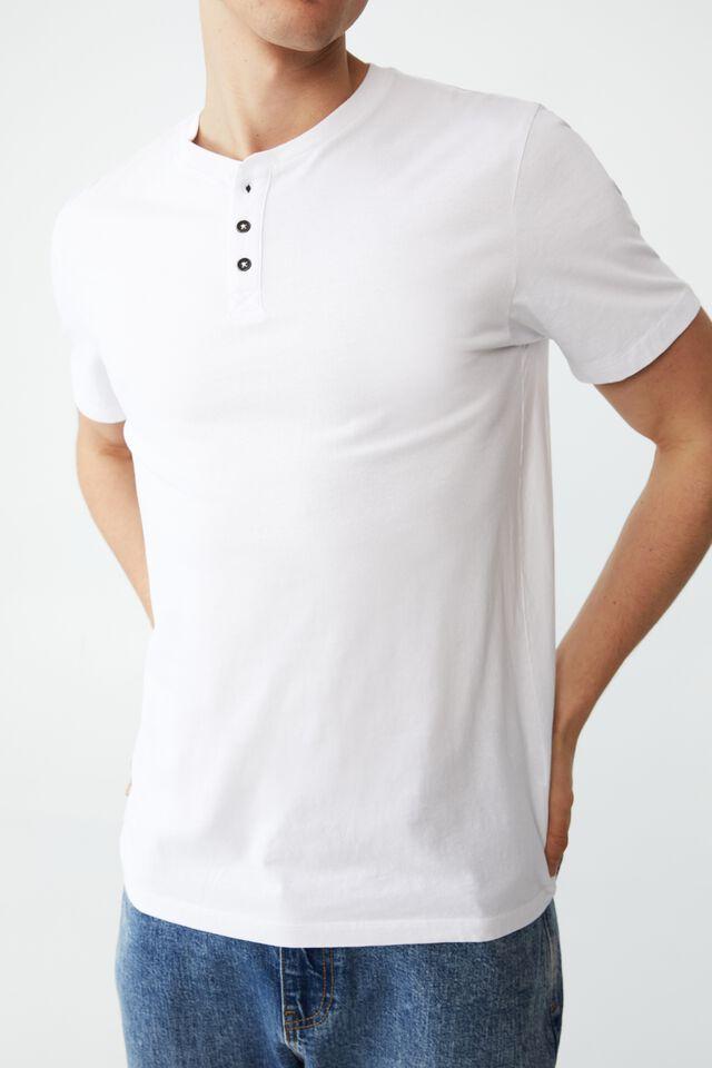 Organic Henley T-Shirt, WHITE