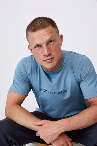Tbar Text T-Shirt, ADRIATIC BLUE/PROCRASTINATOR