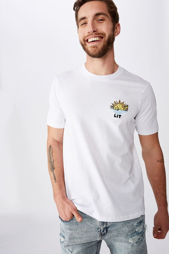 Tbar Art T-Shirt, SK8 WHITE/LIT