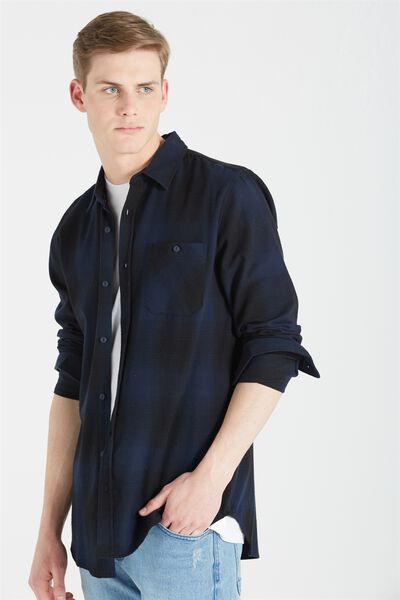 Rugged Long Sleeve Shirt, NAVY CHECK