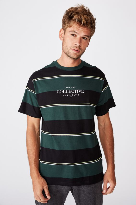 Downtown Loose Fit Tee, GREEN BOLD STRIPE