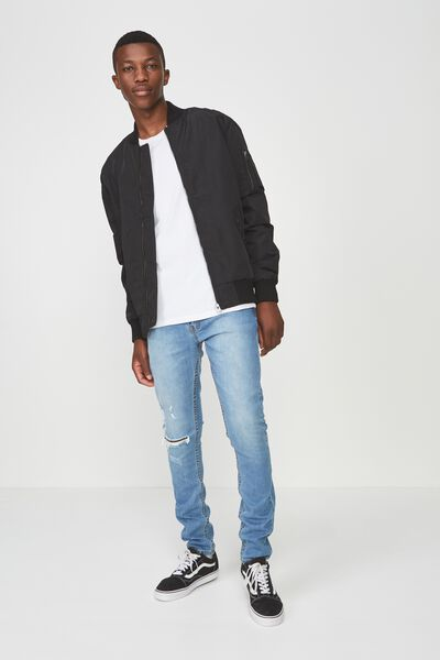 Super Skinny Jean, EXPOSURE MID BLUE + RIPS