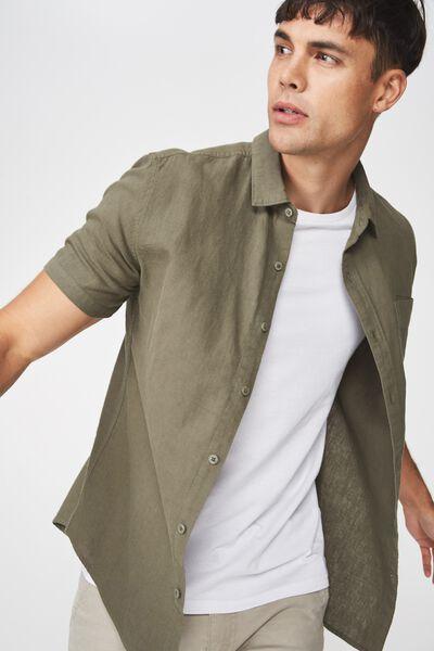 Premium Linen Cotton Short Sleeve Shirt, SAGE