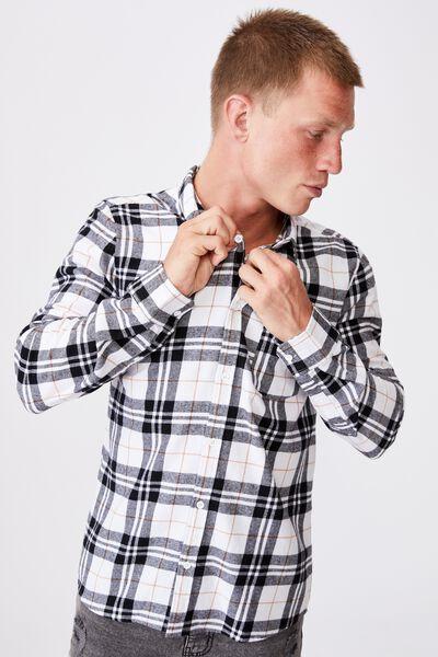 Washed Long Sleeve Check Shirt, WHITE CHECK
