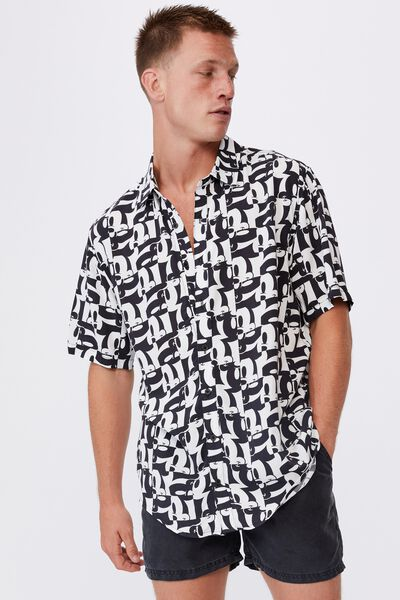 Short Sleeve Collab Shirt, LCN MICKEY BLACK