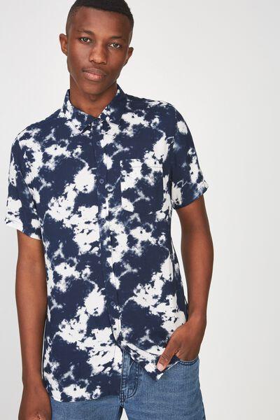 91 Short Sleeve Shirt, INDIGO TIEDYE