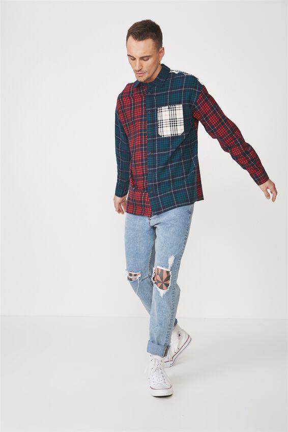 Rugged Long Sleeve Shirt, COLOUR BLOCKED CHECK
