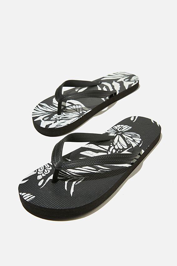 Bondi Flip Flop, BLACK/BUTTERFLY FLORAL
