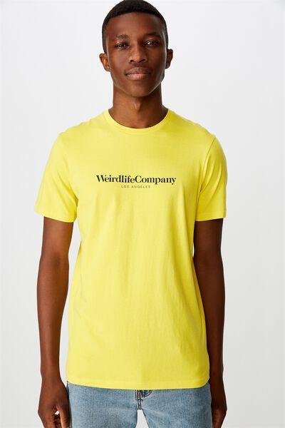 Tbar Text T-Shirt, WASHED SULPHUR/WEIRDLIFE COMPANY
