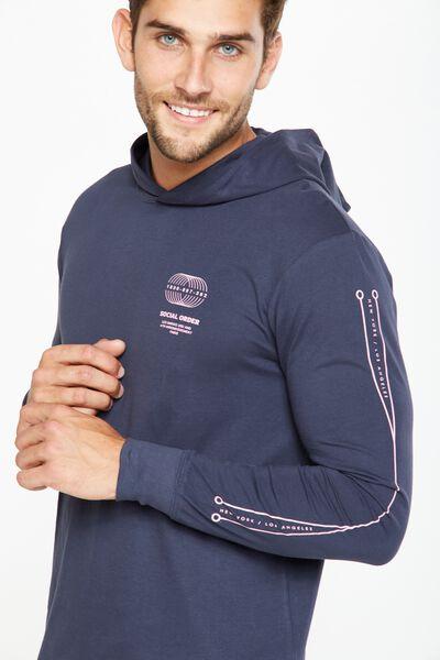 Hooded Long Sleeve, TRUE NAVY/ATOMICA
