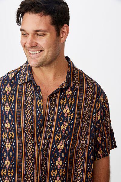 Bg 91 Short Sleeve Shirt, NAVY VERT TRIBAL