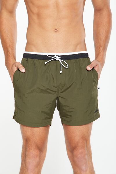 Swim Short, KHAKI / BLACK WAISTBAND