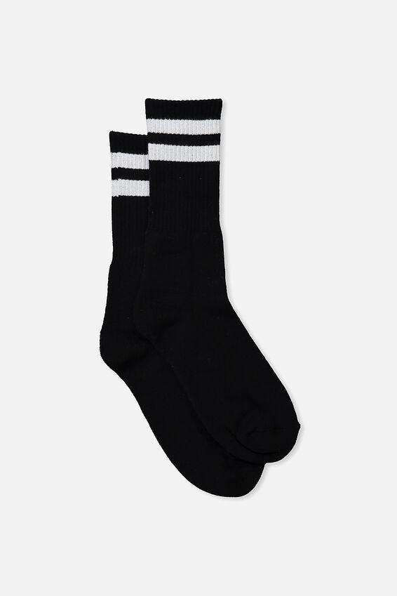 Single Pack Active Socks, SPORT STRIPE BLACK