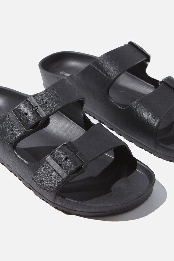 Eva Double Buckle Sandal, BLACK