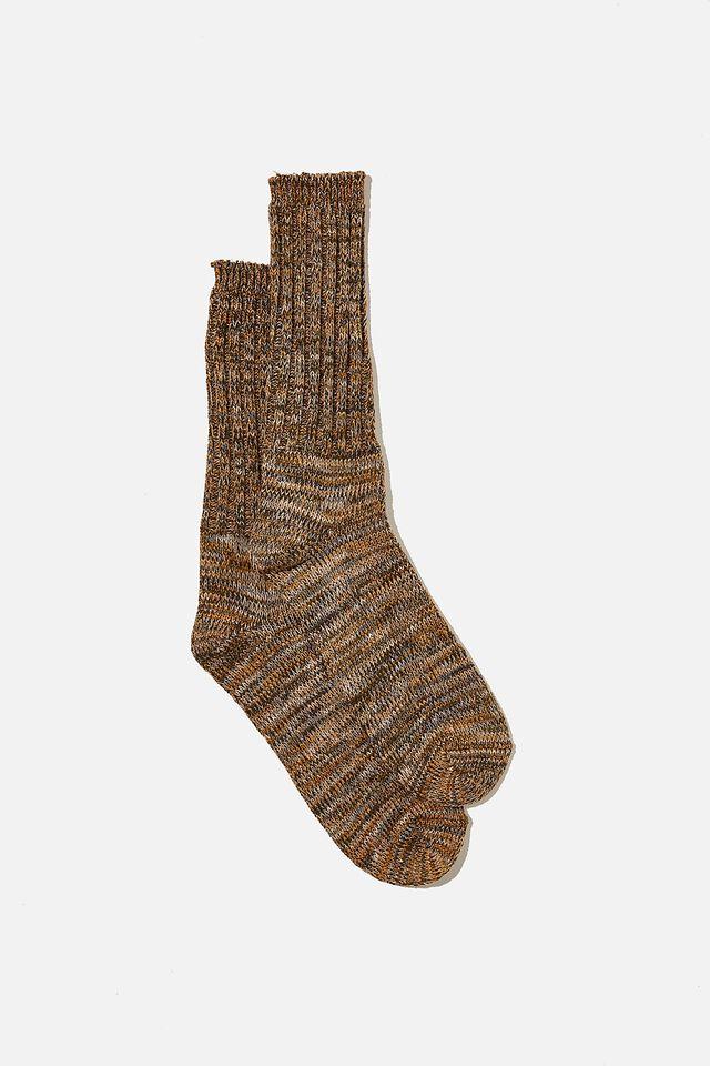 Chunky Knit Sock, BROWN/KHAKI