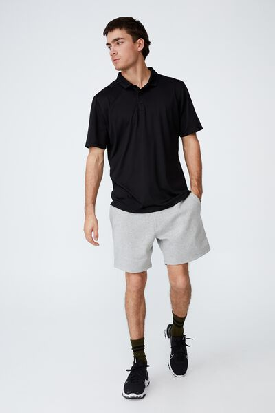 Active Short Sleeve Polo, BLACK