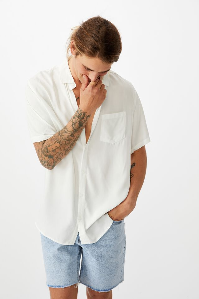 Cuban Short Sleeve Shirt, WHITE