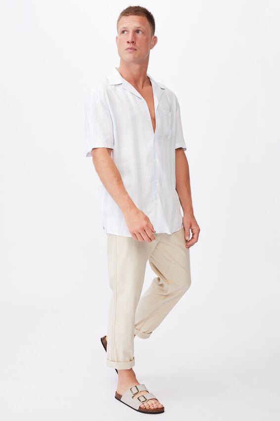 Textured Short Sleeve Shirt, BLUE 50/50 STRIPE