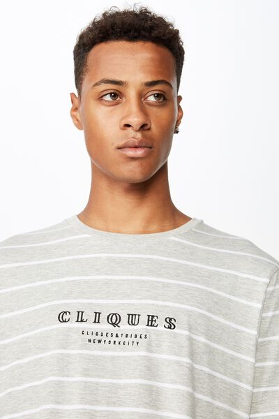Longline Scoop Hem Tee, LIGHT GREY MARLE/WHITE/CLIQUES