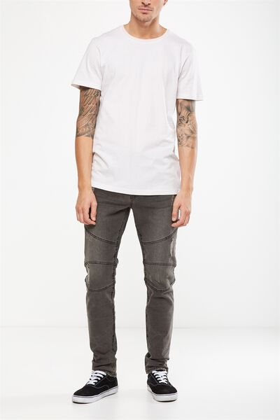 Slim Fit Jean, CASTLE GREY BIKER + RIPS