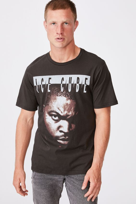 Tbar Collab Music T-Shirt, LCN MT WASHED BLACK/ICE CUBE-FEATURING