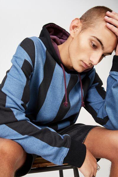 Drop Shoulder Pullover Fleece, STELLAR/BLACK VERTICAL STRIPE