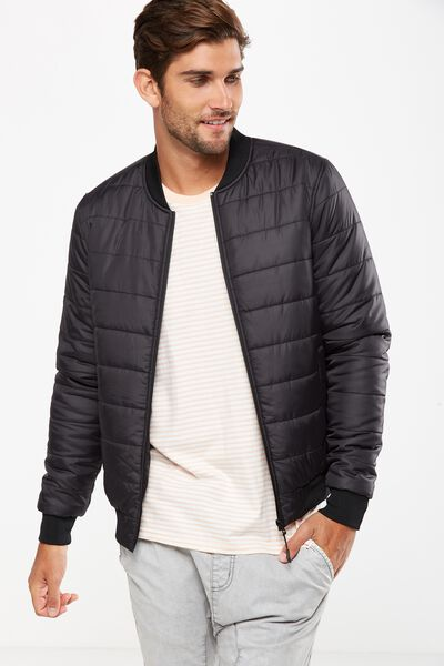 Quilted Bomber Jacket, BLACK