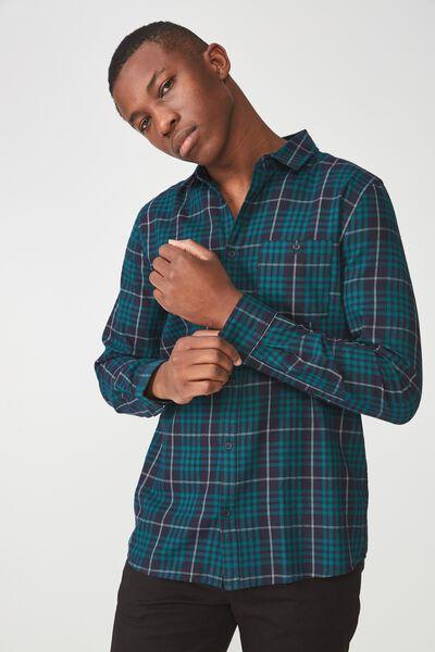 Long Sleeve Rugged Light Shirt, NAVY GREEN CHECK