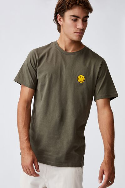 Tbar Collab Pop Culture T-Shirt, LCN SMI MILITARY/SMILEY-EMBROIDERY
