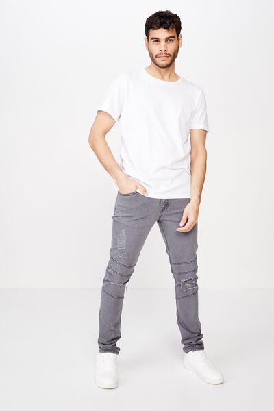 Super Skinny Jean, GUNMETAL BIKER