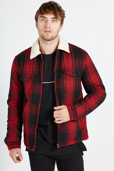 Wood Cutter Jacket, RED CHECK