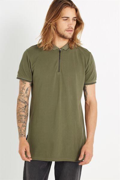 Ae Short Sleeve Longline Zip Polo, KHAKI