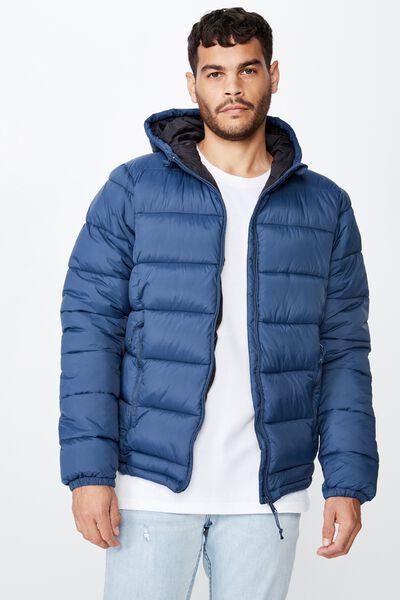 Nu Puffer Jacket, STEEL BLUE