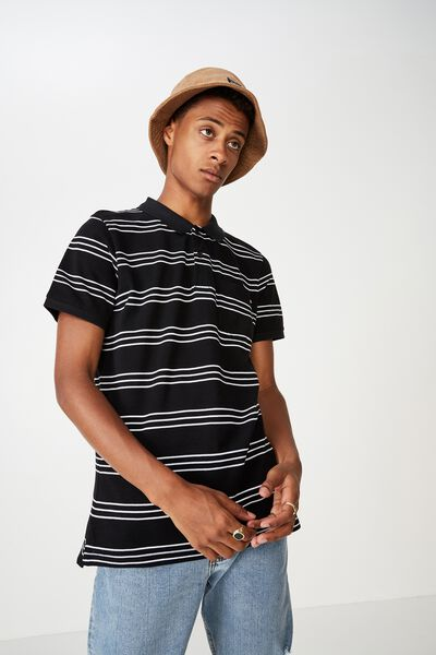 Icon Polo, BLACK WHITE TRI STRIPE