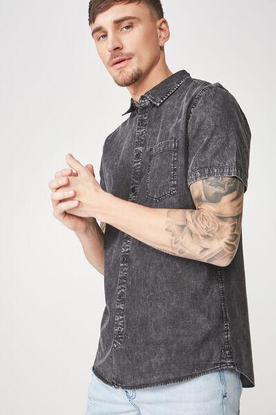91 Short Sleeve Shirt, BLACK DENIM