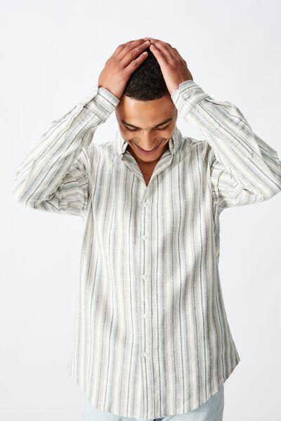 Textured Long Sleeve Shirt, NATURAL STRIPE
