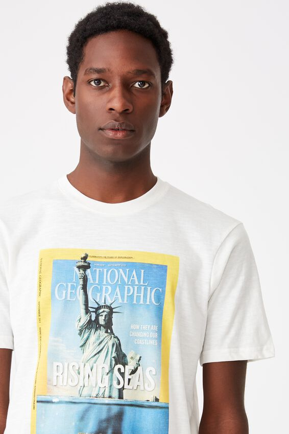 Tbar Collab Pop Culture T-Shirt, LCN NG VINTAGE WHITE/NATIONAL GEOGRAPHIC - RISING