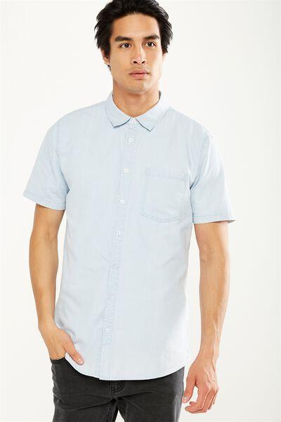 91 Short Sleeve Shirt, LIGHT BLUE CHAMBRAY