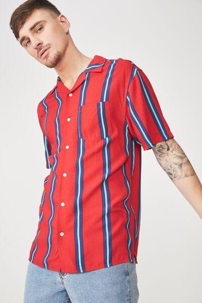 Festival Shirt, RED INDIGO STRIPE