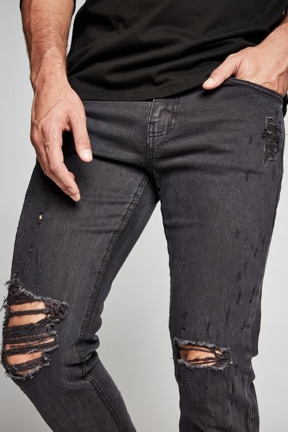 Slim Fit Jean, WASHED BLACK BLOWOUT