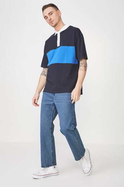 Oversized Short Sleeve Polo, NAVY BLUE BLOCK STRIPE