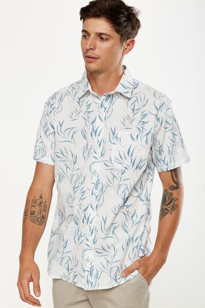 Vintage Prep Short Sleeve Shirt, WHITE GUMLEAVES