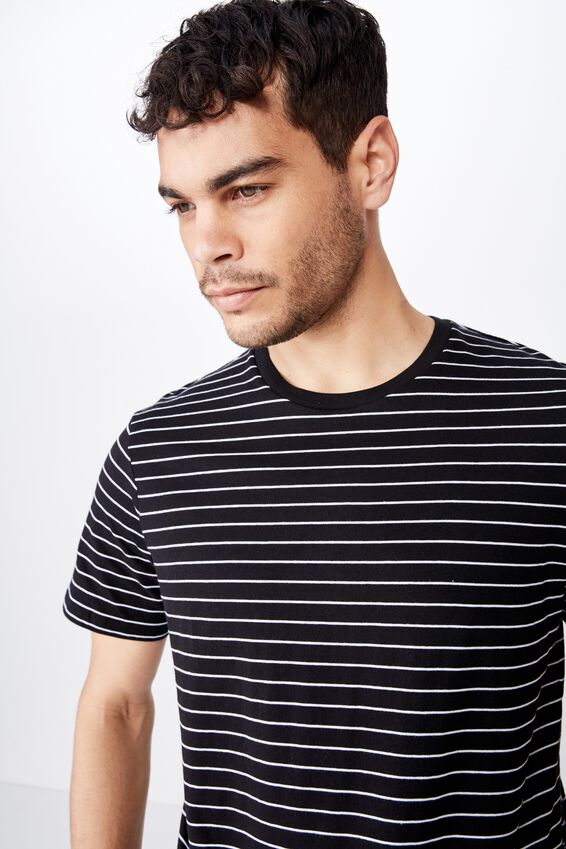 Tbar Premium Crew, BLACK/WHITE EASY STRIPE