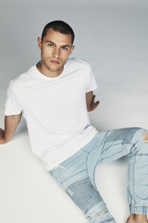 Slim Denim Jogger, TINT OUT BLUE MOTO RIPS