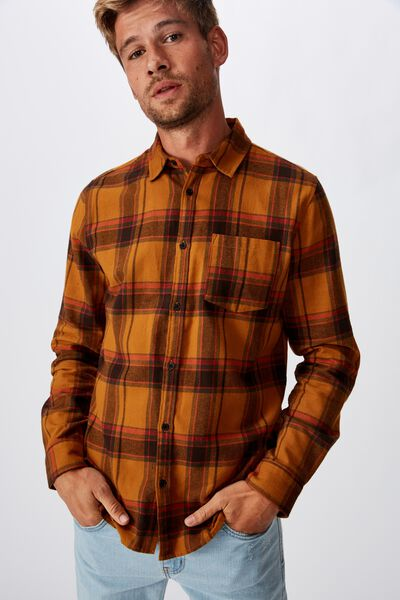 Rugged Long Sleeve Shirt, BURNT ORANGE RED CHECK