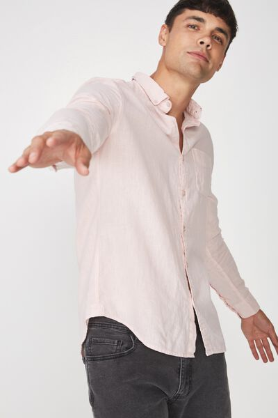 Premium Linen Cotton Long Sleeve Shirt, PINK