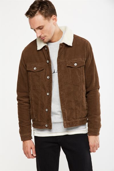 Borg Denim Jacket, BROWN CORD