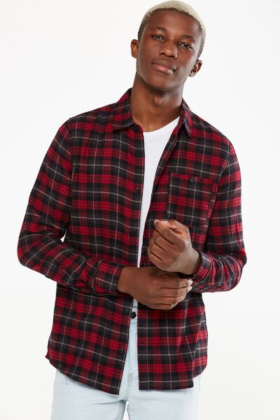 Rugged Long Sleeve Shirt, RED BLACK WHITE CHECK
